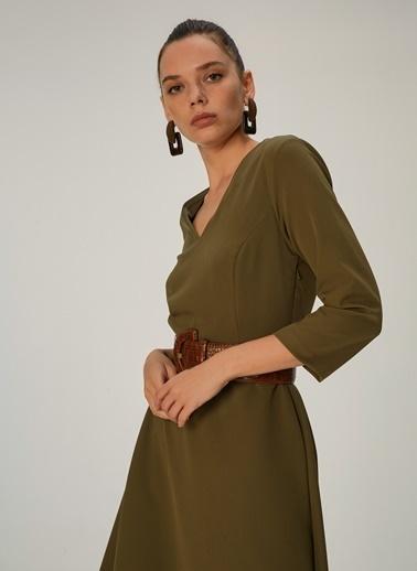 NGSTYLE Kloş Etekli Midi Elbise Haki